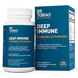 Dr Tobias Deep Immune Probiotic & Prebiotic 4.4 Billion CFUs, Supports a Healthy Gut and No Refrigeration Needed