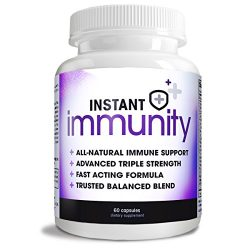 Instant Immunity – 20-in-1 Immune System Booster Wellness Formula with Cat's Claw, Quercetin, Echinacea, Vitamin C, and Olive Leaf Extract 60ct