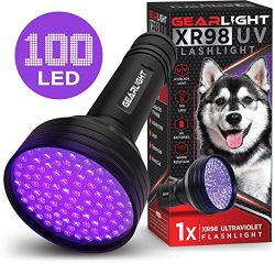 GearLight UV Black Light Flashlight XR98 – Powerful 100 LED Blacklight Flashlights, Pet Stain Detector for Dog Urine, Scorpions, and Bed Bugs – Works Great with Carpet Odor Eliminator and Remover