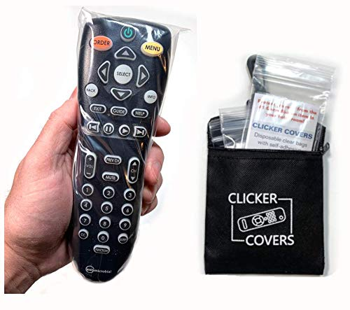 Protection from Germs, Viruses and Bacteria on Home and Hotel TV Remote Controls – Clicker Covers Disposable Clear Bags with Self-Adhesive Closure