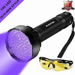 UV Flashlight LED Black Light, Firstbuy Super Bright 100 LED Best Powerful Black Light Flashlight 395NM Ultraviolet Urine Detector Flashlight for Home & Hotel Inspection (New 100 LED Black Light)