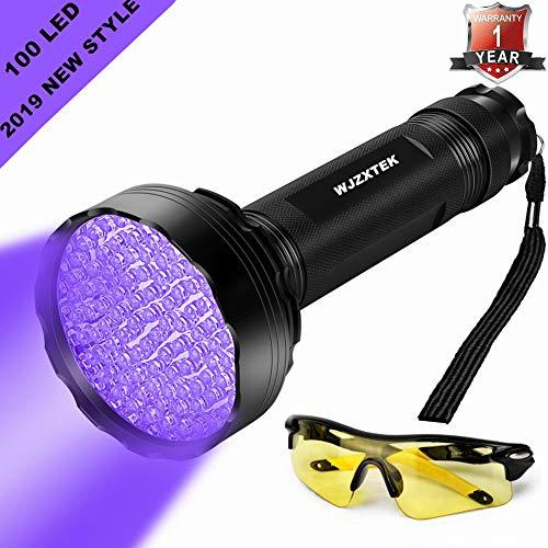 UV Flashlight LED Black Light, Firstbuy Super Bright 100 LED Best Powerful Black Light Flashlight 395NM Ultraviolet Urine Detector Flashlight for Home & Hotel Inspection (New 100 LED Black Light)