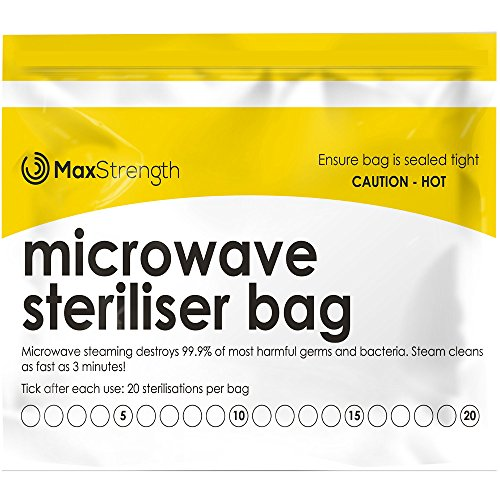Premium Microwave Sterilizer Bags (20pcs) by Max Strength, Large & Durable Steam Bags for Baby Bottles, Soothers, Teethers & Training Cups, 20 Uses Per Bag & Marking System