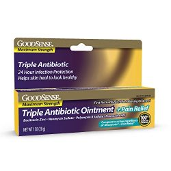 GoodSense Maximum Strength Triple Antibiotic Ointment plus Pain Relief, Soothes Painful Cuts, Scrapes, and Burns, While Preventing Infection, 1 Ounce