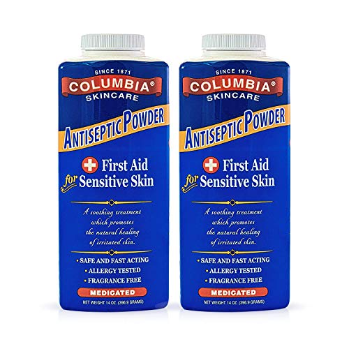 Columbia Skincare Medicated Antiseptic Powder for Sensitive Skin (14 oz) Destroys Bacteria, Soothes Itching and Irritation, Reduces Inflammation (2 Pack)