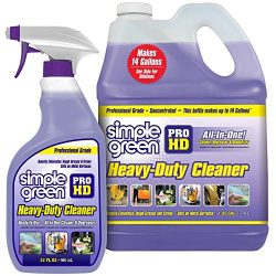 "SIMPLE GREEN Pro HD ""Purple"" Concentrated Cleaner & Degreaser – Heavy Duty, Professional, Automotive, Restaurant, Kitchens, Grills, Ovens – 32 oz Spray and 1 gal Refill (Pack of 2)"