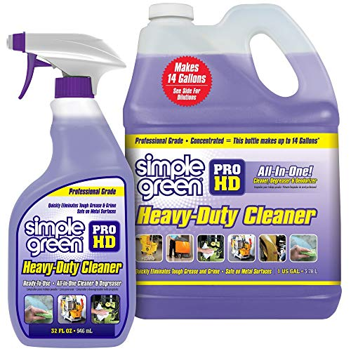 """SIMPLE GREEN Pro HD """"Purple"""" Concentrated Cleaner & Degreaser – Heavy Duty, Professional, Automotive, Restaurant, Kitchens, Grills, Ovens – 32 oz Spray and 1 gal Refill (Pack of 2)"""