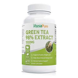 Green Tea Extract 98% 1000mg with EGCG 180 Capsules (Non-GMO & Gluten Free) Max Potency for Weight Loss & Metabolism Boost – Natural Caffeine for Gentle Energy