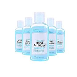 5 Pcs Wash Free Hand Sanitizer Gel- 2 fl oz Advanced Portable Quick-Drying Liquid Hand Soap, Kills 99% of Germs, Suitable for Outdoor Camping Hiking Indoor Office Restaurant Hospital School