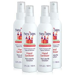 Fairy Tales Hand Sanitizer Spray- 80% Alcohol – Portable Hand Sanitizer for Kids or Adults – Travel size- Made in USA- 3.3oz (4 pack)