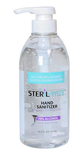 Steril-Wize SWHS500 16.9-Oz. Moisturizing Gel Hand Sanitizer, 70% Alcohol with Hand Pump