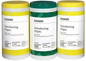 Amazon Brand – Solimo Disinfecting Wipes, Lemon Scent & Fresh Scent, Sanitizes/Cleans/Disinfects/Deodorizes, 75 Wipes Each (Pack of 3)