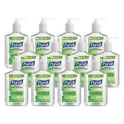 PURELL Advanced Hand Sanitizer Naturals with Plant Based Alcohol, Citrus Scent, 8 fl oz Pump Bottle (Pack of 12) – 9626-12-CMR