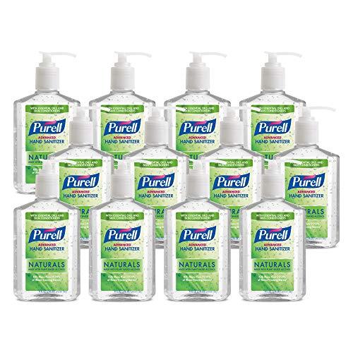 PURELL Advanced Hand Sanitizer Naturals with Plant Based Alcohol, Citrus Scent, 8 fl oz Pump Bottle (Pack of 12) – 9626-12-CMR