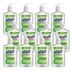 PURELL NATURALS Advanced Hand Sanitizer Gel, with Skin Conditioners and Essential Oils, 12 fl oz Counter Top Pump Bottle (Case of 12) – 9629-12