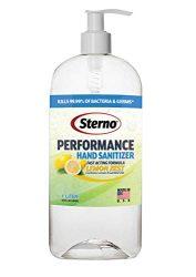 Sterno 70% Alcohol Gel Hand Sanitizer 33.8 fl oz Bottle with Pump, Made in USA – Performance Lemon Zest Fragrance
