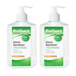 GINGI-PAK ProGuard Hand Sanitizer Gel, 70% Ethyl Alcohol with Aloe Vera, Kills 99.999% of Germs, Fast Drying with No Residue Left Behind, 16 oz, 2-Pack