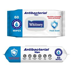 Whitney Antibacterial Wipes | FDA Registered | 2 Packs (120 Wipes)