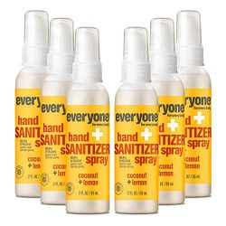 Everyone Hand Sanitizer Spray: Coconut and Lemon, Travel Size, 6 count