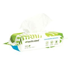 Earth Rated Dog Wipes, 100 Plant-Based and Compostable Wipes for Dogs & Cats, USDA-Certified 99 Percent Biobased, Hypoallergenic, Unscented 8×8 Deodorizing Grooming Pet Wipes for Paws, Body and Butt