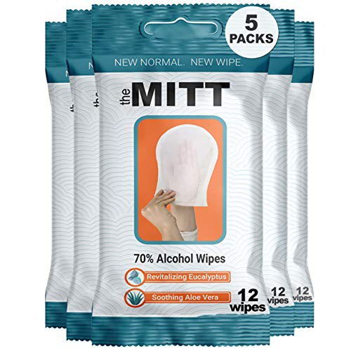 The Mitt – The First Contactless Wipe | Compare To Organic Hand Sanitizer Travel Size – Natural Aloe & Eucalyptus Oil & Alcohol | Germaphobe Hand Sanitizer | Sanitizing Airplanes, Ships, Business.