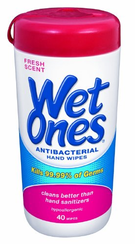 Wet Ones Antibacterial Hand Wipes – Fresh Scent: 40 Count Canister, 5 Pack