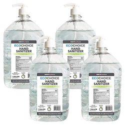 Sterno Home ECOCHOICE 44352 Unscented Hand Sanitizer Gel, FDA-Registered, 66% Alcohol, with Pump Dispenser, 128 Fl. Oz, 1-Gallon Size Bottle, 4-Pack