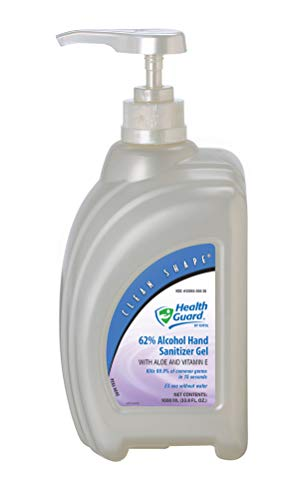 Kutol Health Guard 65614 62% Alcohol Hand Sanitizer Gel, 1000 mL Clean Shape Pump Bottle, Clear with No Fragrance (Pack of 4)