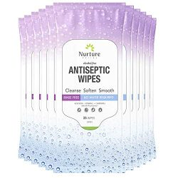 Antiseptic Sanitizing Wipes (10 Packs of 25 Wipes) | 250 Alcohol Free Antibacterial Disposable Hand and Body Sanitizer Wipes with Aloe Vera, Chamomile and Vitamin E – 10 Packs of 25 Wipes