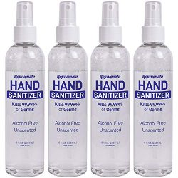 Rejuvenate Advanced Hand Sanitizer Kills 99.99% of Germs Spray Mist Alcohol Free Unscented Made in USA (8oz x 4 Pack)