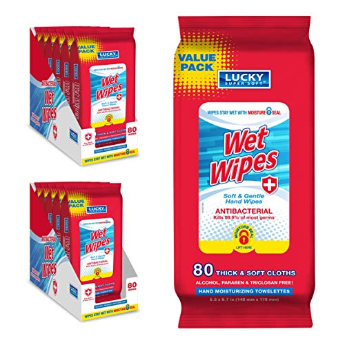 Lucky Super Soft Antibacterial Wet Wipes – Economy Pack – Hand Moisturizing Towelettes – Alcohol-Free Wipes – 12 Packs of 80 Wipes(Total 960 Wipes)