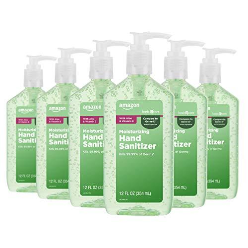 Amazon Basic Care – Aloe Hand Sanitizer 62%, 12 Fluid Ounce (Pack of 6)