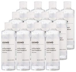 Amazon Brand – Solimo Hand Sanitizer, 12-Pack of 8oz Flip Cap Bottles, 70% Ethyl Alcohol, Unscented